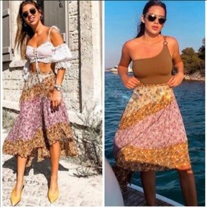 Zara Asymmetrical Floral Patchwork Boho Skirt